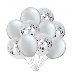 Mix van 5 zilverkleurige en 5 doorzichtige ballonnen met zilver metallic