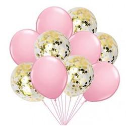 Mix van 5 roze en 5 doorzichtige ballonnen met ronde goud metallic confetti