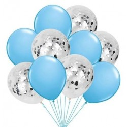 Mix van 5 blauwe en 5 doorzichtige ballonnen met ronde zilver metallic confetti