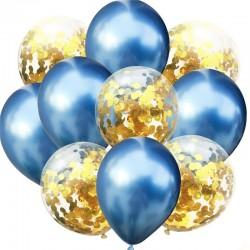 Mix van 5 blauwe en 5 doorzichtige ballonnen met ronde goudkleurige metallic confetti