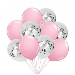 Mix van 5 roze en 5 doorzichtige ballonnen met ronde zilver metallic confetti