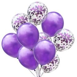 Mix van 5 paarse en 5 doorzichtige ballonnen met ronde paarse confetti
