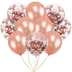Mix van 5 rosé goudkleurige en 5 doorzichtige ballonnen met rosé goud metallic confetti