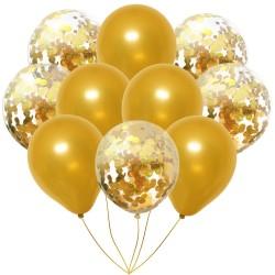 Mix van 5 goudkleurige en 5 doorzichtige ballonnen met ronde goud metallic confetti