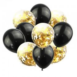 Mix van 5 zwarte en 5 doorzichtige ballonnen met ronde goud metallic confetti