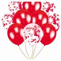 Mix van 5 rode en 5 doorzichtige ballonnen met ronde rode confetti