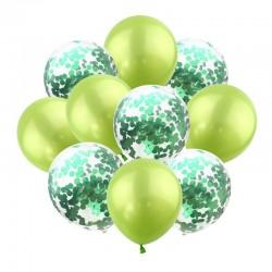 Mix van 5 appel groene en 5 doorzichtige ballonnen met ronde groene confetti
