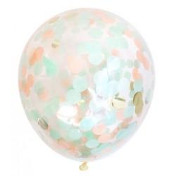 Doorzichtige ballonnen met mint, zalm- en goudkleurige ronde confetti