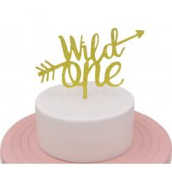 Wild One goud taart topper goudkleurig