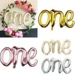 Grote folie ballon One in de kleuren goud, rosé goud, wit goud of zilver