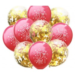 Set met 10 ballonnen 2 jaar rood en goud confetti