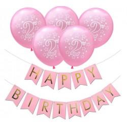 Ballon en slinger set 2 jaar roze 6-delig