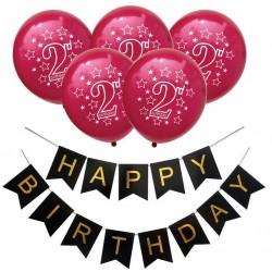 Ballon en slinger set 2 jaar rood met zwart en goud 6-delig