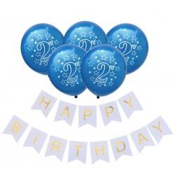 Ballon en slinger set 2 jaar donker en licht blauw 6-delig