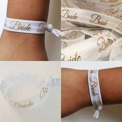 Elastische armband wit met gouden opdruk Bride