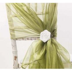 Organza stoelstrik per stuk of per pak met 6 stuks mos groen