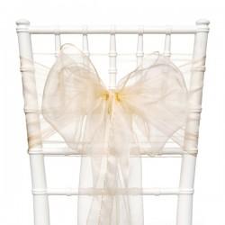 Organza stoelstrik per stuk of per pak met 6 stuks champagne