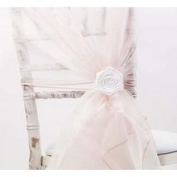 Organza stoelstrik per stuk of per pak met 6 stuks blush pink