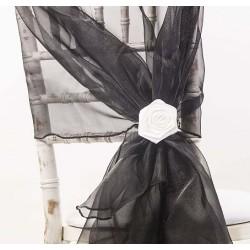 Organza stoelstrik per stuk of per pak met 6 stuks zwart