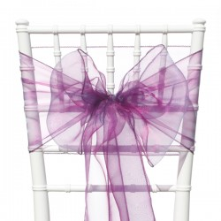 Organza stoelstrik per stuk of per pak met 6 stuks pruimkleurig