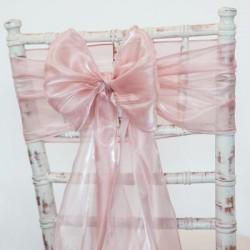 Organza stoelstrik per stuk of per pak met 6 stuks rosé goud