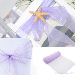 Organza stoelstrik per stuk of per pak met 6 stuks lila