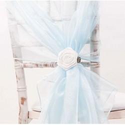 Organza stoelstrik per stuk of per pak met 6 stuks licht blauw