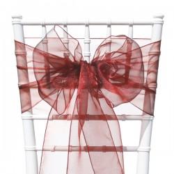 Organza stoelstrik per stuk of per pak met 6 stuks bordeaux rood