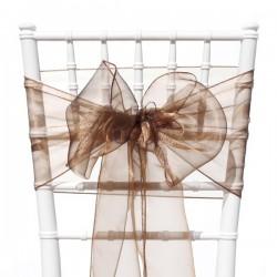 Organza stoelstrik per stuk of per pak met 6 stuks bruin