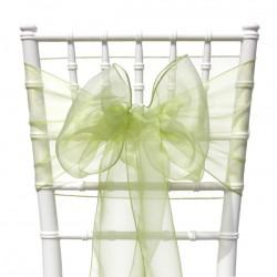 Organza stoelstrik per stuk of per pak met 6 stuks appel groen