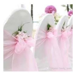 Organza stoelstrik per stuk of per pak met 6 stuks licht roze