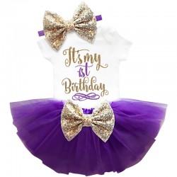 Driedelig 1e verjaardag setje Elegant in de kleuren wit, goud en paars