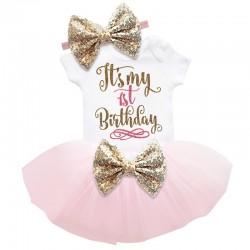 Driedelig 1e verjaardag setje Elegant in de kleuren wit, goud en licht roze