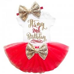 Driedelig 2e verjaardag setje Elegant in de kleuren wit, goud en rood
