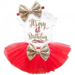 Driedelig 1e verjaardag setje Elegant in de kleuren wit, goud en rood