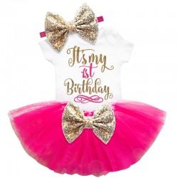 Driedelig 1e verjaardag setje Elegant in de kleuren wit, goud en hot pink
