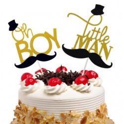Taart topper Oh Boy of Little Man Moustache goud met zwart