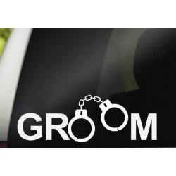 Auto decoratie sticker Groom met handboeien