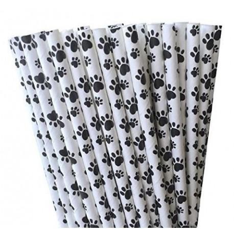 Pak met 25 witte rietjes met zwarte honden pootjes