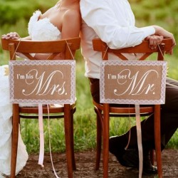Jute stoel decoratie set kant I'm his Mrs en I'm her Mr