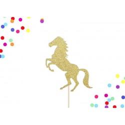 Gouden glitter taart topper Horse