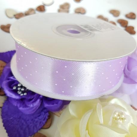 Satijn lint licht lila met witte stipjes 25 meter lang en 25 mm breed