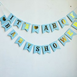 Banners It's a Boy en Babyshower blauw met goud