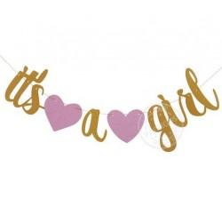 Banner gold glitter met 2 roze harten It's a Girl