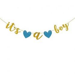 Banner gold glitter met 2 blauwe harten It's a Boy