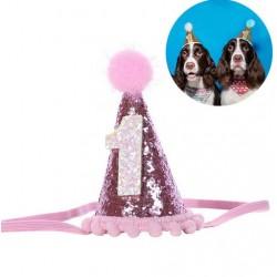 Feestelijk puntmutsje met roze pompom voor een hond