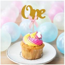 Cupcake toppers One goud met roze strikje