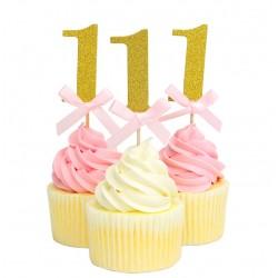 Cupcake toppers 1 goud met roze strikje