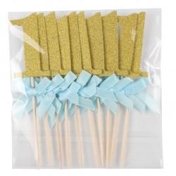 Cupcake toppers 1 goud met blauw strikje