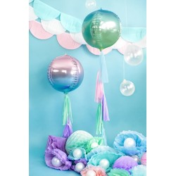 Metallic folie ballon Ombre Ball blauw en groen